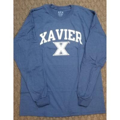 Xavier Navy 100% Long Sleeve  Tee Shirt