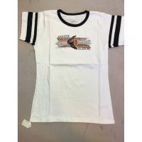 Anderson Redskins White Black Striped Sleeve Women's Tee Shirt