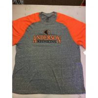 Anderson Redskins Gray w/ Orange Sleeve Tee Shirt