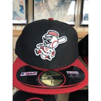 New Era 50Fifty Black w/ Red Bill Mr. Redlegs Cincinnati Reds Baseball Cap