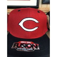 American Needle Fusion Red w/ Black Bill C Logo Cincinnati Reds Baseball Cap