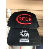 '47 Brand Cleanup All Black Old C Logo Cincinnati Reds Baseball Cap