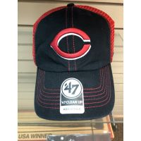 '47 Brand Cleanup Black & Red Mesh C Logo Cincinnati Reds Baseball Cap