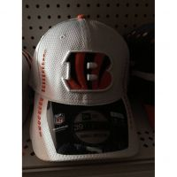 New Era 39THIRTY White w/ Ornge Stitching Cincinnati Bengals B Logo Hat