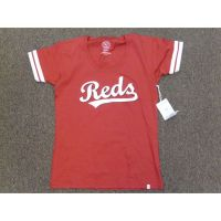 Women's Reds Tee w/ Striped Sleeves