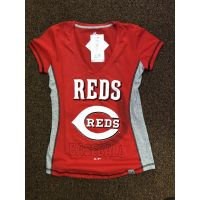 Majestic Red Cincinnati Reds Logo Baseball V-Neck