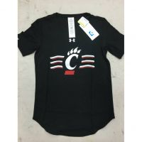 Under Armour University of Cincinnati  Women's 3-Stripe Logo Black Shirt