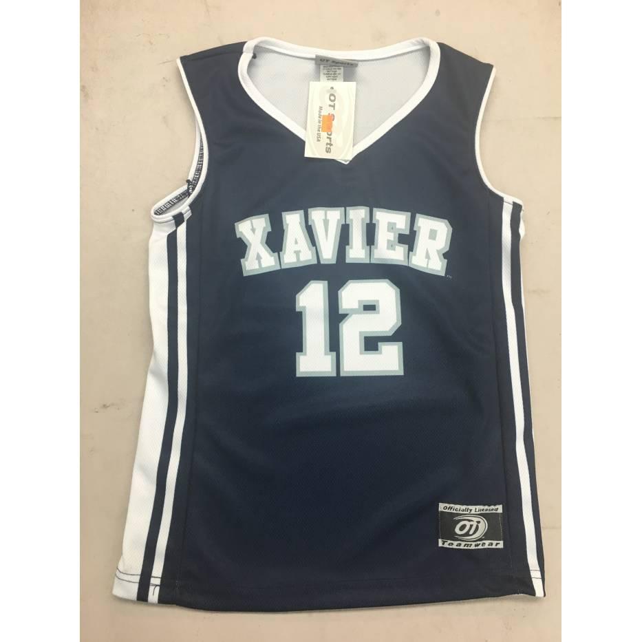 watch ae047 3e3d6 Xavier Navy Blue #12 Basketball Jersey